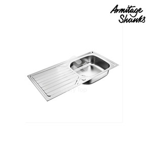 'Sandringham' stainless steel Grade 304 inset sink single bowl single drainer with overflow and waste fittings, satin finish.