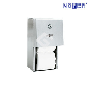 Surface mounted Grade 304 stainless steel multi-roll toilet tissue dispenser with key lock system.