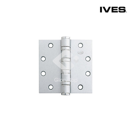 Heavy duty butt hinge with 4 ball bearings with non removable pin and security stud, templated drilled, meets ANSI/BHMA A156.1 Grade 1 (A5111), tested to 2,500,000 cycles, Grade 316 stainless steel satin finish, c/w wooden door & machine screws.