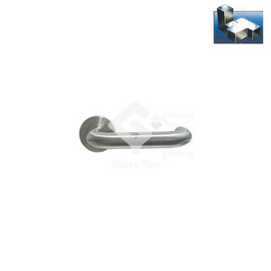 Safety return-to-wall style lever handle on sprung rose, 19mm dia., half set with half spindle for 34mm-55mm thick door use.