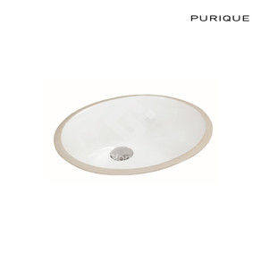 Vitreous china undercounter basin with overflow hole