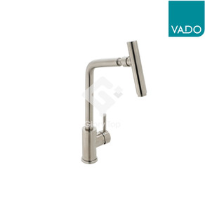 stainless steel deck mounted single lever sink mixer with swivel spout and flexible hoses.