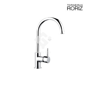 'Cozinhas' chrome plated deck mounted single lever sink mixer with WS4 flow regulator with swivel spout.