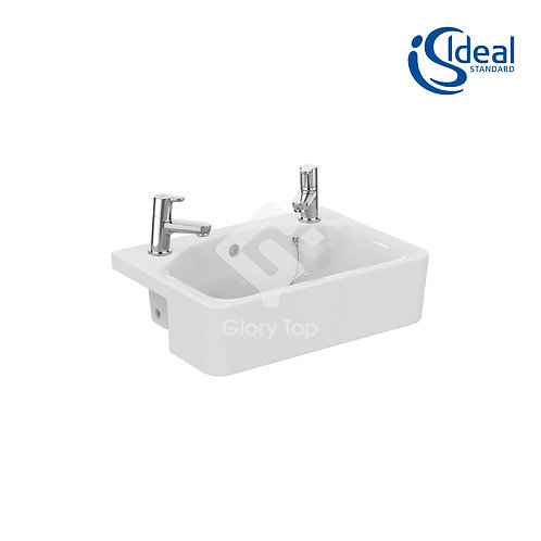 Concept Cube 50cm Semi-Countertop Washbasin, 2 tapholes