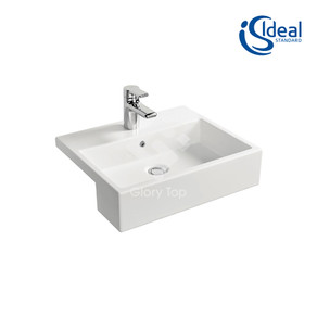 'Strada' vitreous china semi-recessed washbasin with one central tap hole and overflow hole