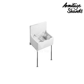 'Alder' fireclay wall mounted 305mm high back cleaner sink with stainless steel bucket grating & rubber bumper, with stainless steel legs