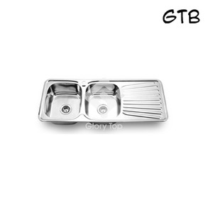 Stainless steel grade 304 inset type double bowls single drainer sink with waste fittings & overflow.