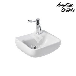 'Contour 21+' vitreous china wall mounted washbasin back outlet, with one RH taphole, with anti-microbial glaze, with outlet connection with SmartGuard