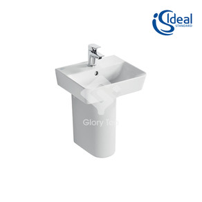 'Concept Air Cube' fine fire clay wall hung washbasin with one central taphole, with overflow hole
