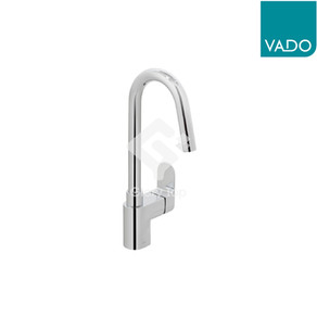 """'Life' chrome plated deck mounted single lever sink mixer with swivel spout, with 1/2"""" stainless steel flexible hoses."""