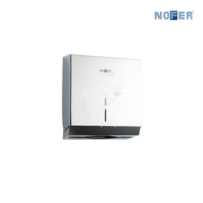 Stainless steel Grade 304 surface mounted paper towel dispenser with front capacity viewing window and lock on top.