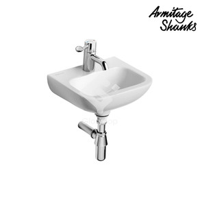 'Contour 21-37' vitreous china wall hung washbasin with one central taphole, no overflow hole, with concealed hangers.