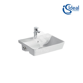 'Concept Air Cube 50cm' vitreous china semi-recessed washbasin with one central tap hole and overflow hole