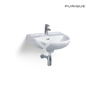 Vitreous china wall hung basin with one central taphole and overflow hole.
