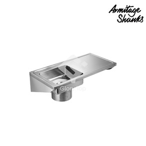 Clyde plaster sink and work surface in stainless steel with integral bracket, no tapholes, with strainer basket, lid. (LH bowl)