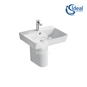 'Concept Air' Cube 55cm washbasin, 1 taphole with overflow and 'Concept Air' 55cm wall hung cube basin unit with 1 drawer