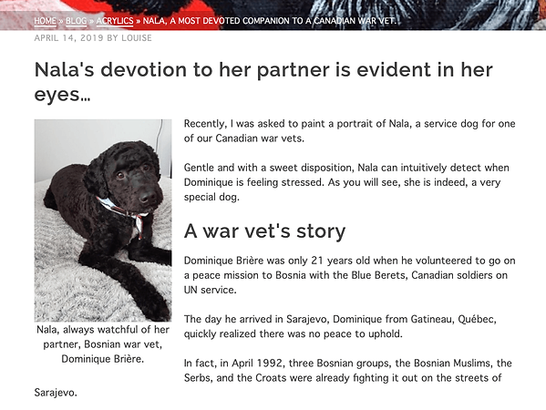 NALA, A MOST DEVOTED COMPANION TO A CANADIAN WAR VET