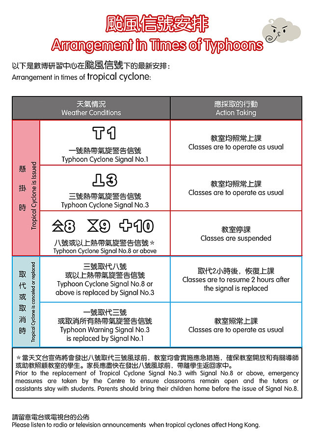 數學 補習 颱風安排