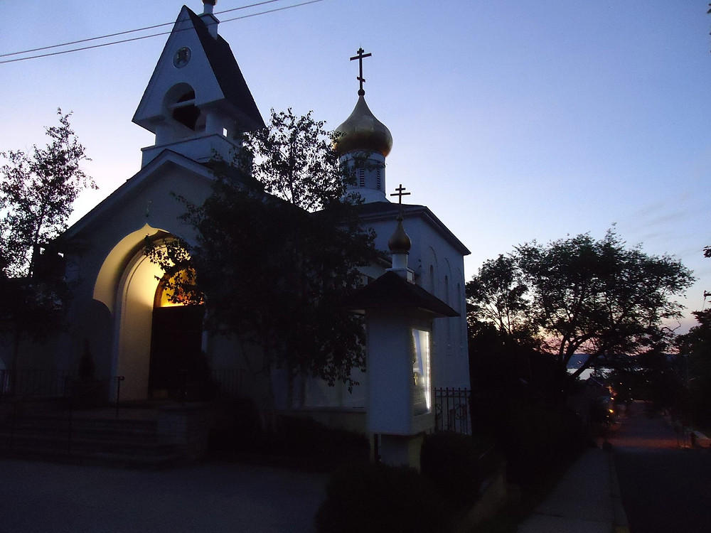 This morning at sunrise, the Holy Virgin Protection church in Nyack, New York