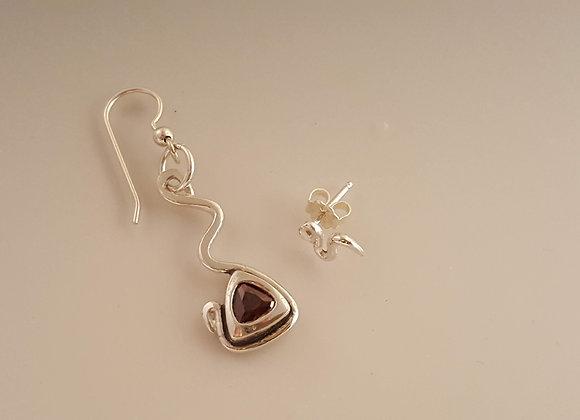 Fine Silver Asymmetrical Earrings with Purple CZ