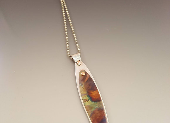 Flame Painted Pendant on Sterling Silver