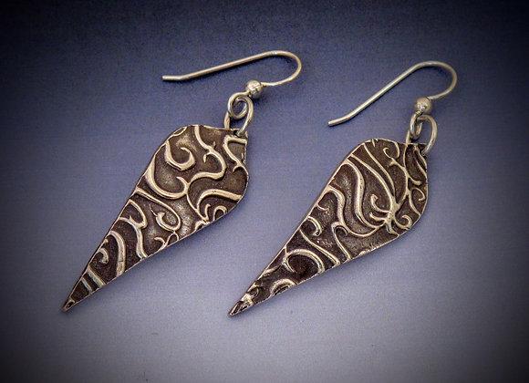Fine silver textured earrings