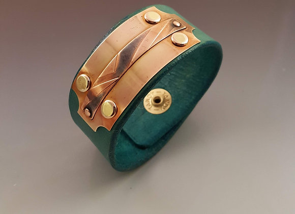 Turquoise Leather Cuff with Decorative Plate
