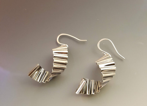 Sterling Silver Corrugated Earrings