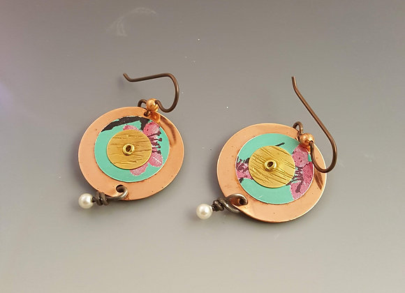 Mixed Metal Earrings with Pearl
