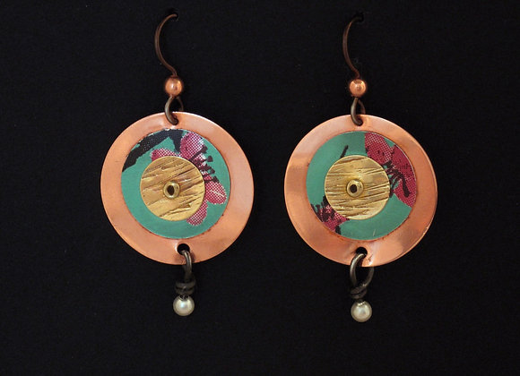 Copper, brass, soda can metals with pearl
