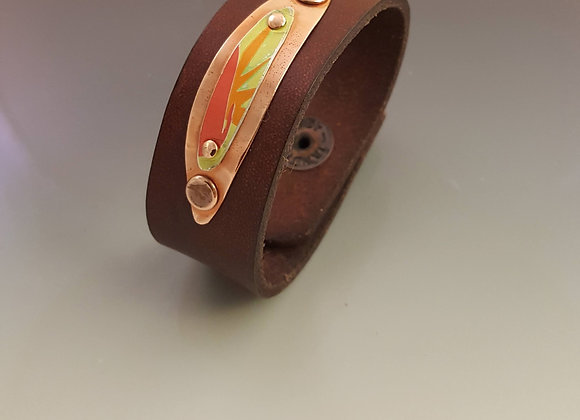 Leather Cuff with Mixed Media