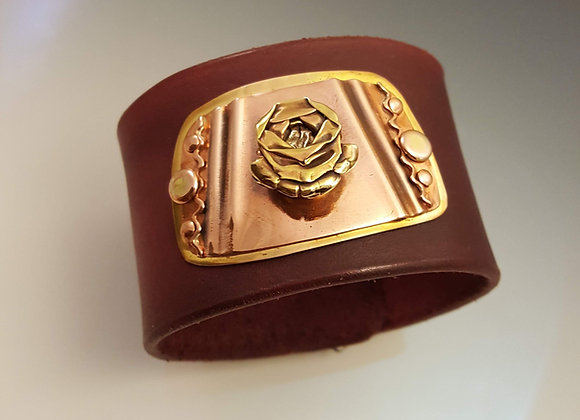 Leather Cuff with Decorative Plate