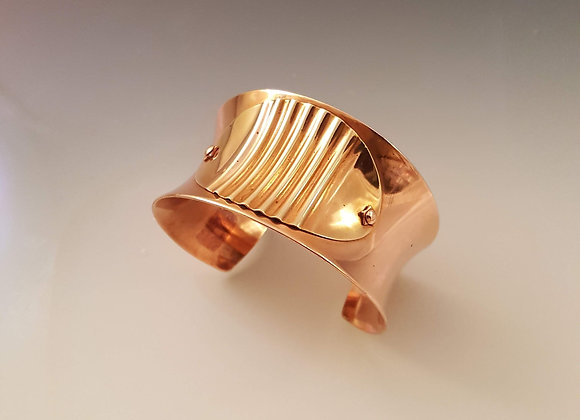 Copper Cuff with Brass Plate