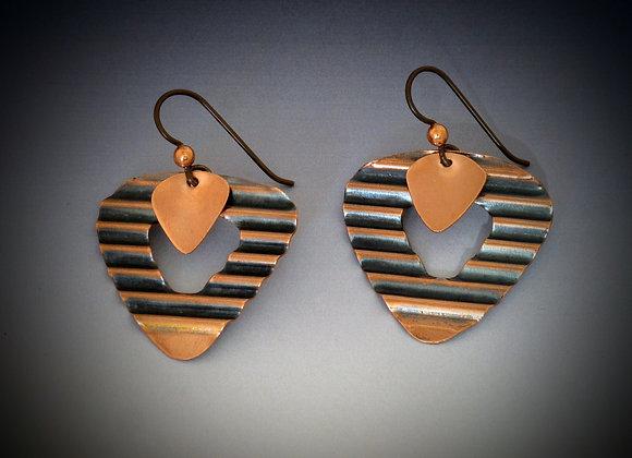 Corrugated copper earrings