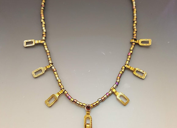 Repurposed Brass and Beaded Pendant