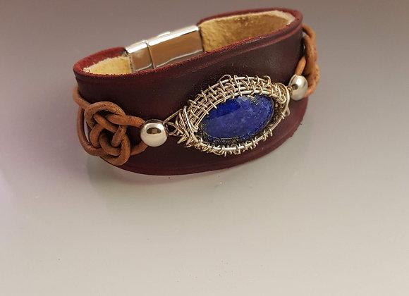 Decorative Leather Cuff with Denim Lapis
