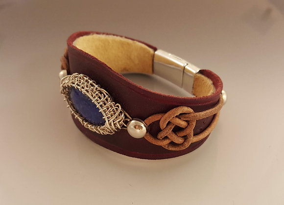 Lapis and leather bracelet