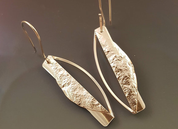 Reticulated Sterling Silver and Copper Earrings