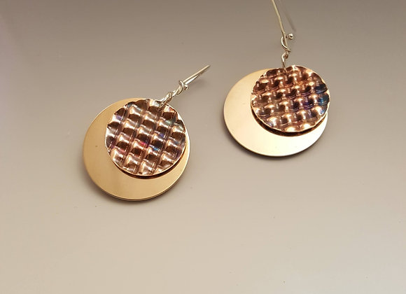 Brass and Corrugated Copper EarringsCorrugated and flame painted copper and bras