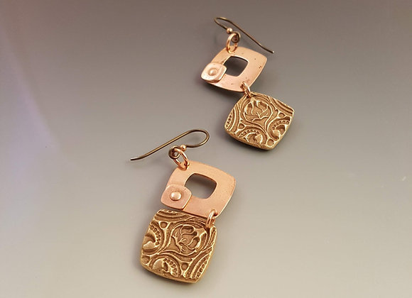 Bronze and Copper Earrings with Lotus Motif