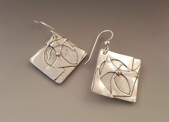 Fine silver applique earrings