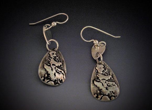 Fine silver photo polymer earrings