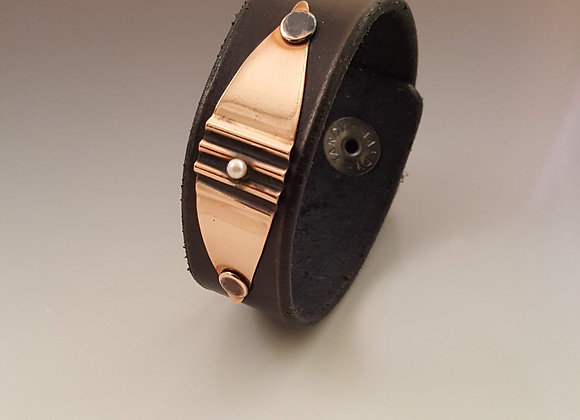 Handcrafted Cuff with Corrugated Copper Plate and Pearl