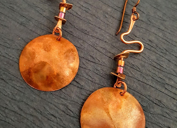 Flame painted and wire copper earrings