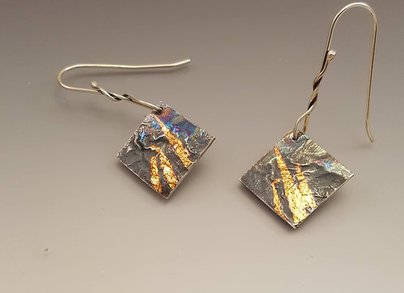 Gold Foil and Sterling Silver Earrings