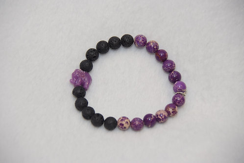 Duo Beaded Bracelet with Charm and Lava