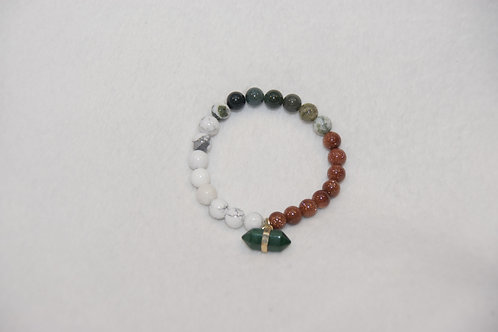 Trio Beaded Bracelet with Charm