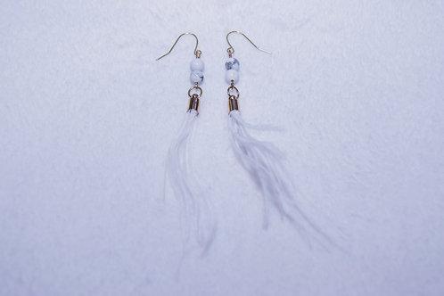 Feather Stone Dangle Earrings