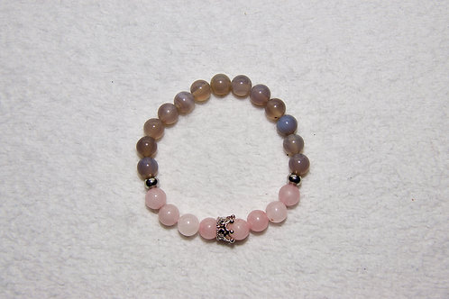 Duo Beaded Bracelet with Crown Charm