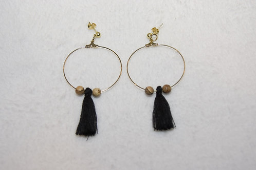 Hoops with Tassels and Stone
